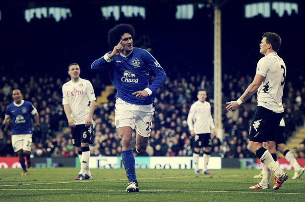 Everton's Marouane Fellaini celebrates scoring his side's first goal during match at Craven Cottage v Fulham-1415023